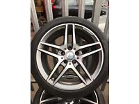 "ORGINAL GENUINE MERCEDES BENZ 2016 18"" AMG ALLOYS WITH 4 DUNLOP SPORT MAXX TYRES- C CLASS E CLASS"
