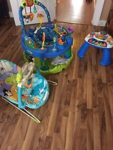 Exersaucer, viberating chair, play table