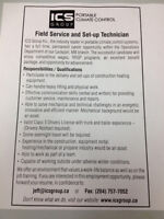 Field Service and Set-up Technician