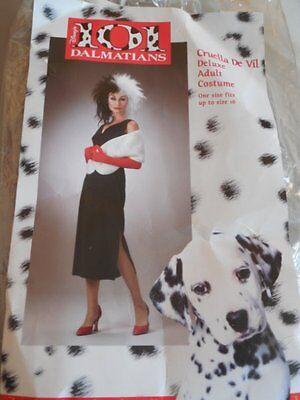 Disney 101 DALMATIONS Villian CRUELLA DE VIL Deluxe 5 Pc ADULT COSTUME Sz OSFM   (101 Dalmations Costume)
