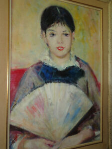 REAL PAINTING GIRL WITH FAN  AFTER RENOIR West Island Greater Montréal image 2