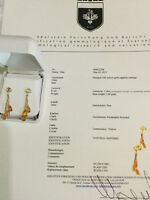 Pair of New 14K Yellow Gold Sapphire Earrings