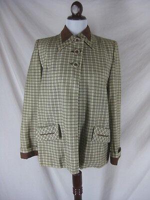 Vtg 40s 50s Fashion Bilt Brown Plaid Womens Vintage Clutch Swing Coat Jacket W44