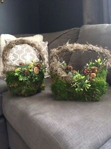 Moss covered baskets