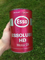 VINTAGE 1970's ESSO ESSOLUBE HD MOTOR OIL (1 IMPERIAL QUART) CAN