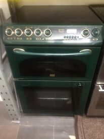 Green Creda 60cm ceramic hub electric cooker grill & double fan oven good condition with guarantee