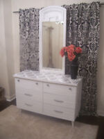Beautiful White Dresser with Large Mirror for sale I DELIVER