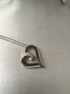 Enhanced Black and White Diamond Heart Pendant