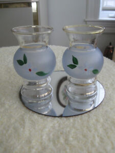 PAIR of VINTAGE MATCHING CLEAR GLASS / FROSTED VASES