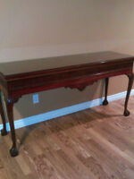 Buffet Table and Tempered Glass Top - Excellent Condition