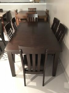 Brand New thick espresso butterfly leaf table and 6 solid chairs