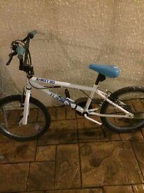 Girls white and blue bike