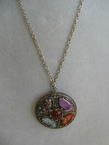 "BEAUTIFUL OLD VINTAGE 30"" SILVERTONE CHAIN with GEMSTONE PENDANT"