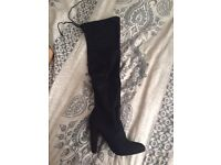 Black suede over the knee boots size 4