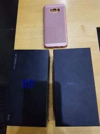 Galaxy s8 unlocked 64gb in orchid grey mint condition fully boxed with case