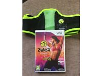 Zumba wii fit game with fitness belt.
