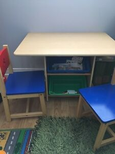 Kids desk and two chairs set solid