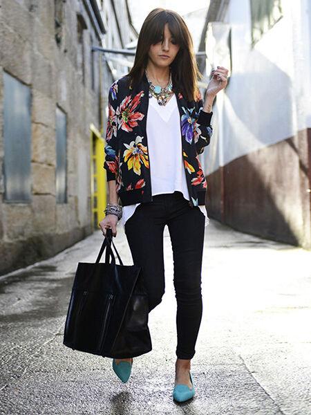 Long Sleeve Floral Zipper Blazer Suit Jacket