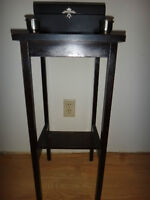 Antique Stand with Box & Candle Holders
