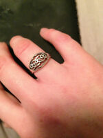 Women's Designer Solid Sterling Silver woven Ring, size 7