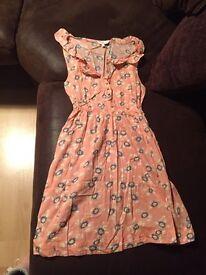 Peach print dress new look size 8