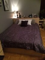 IKEA Malm Queen bed frame & 3 piece headboard