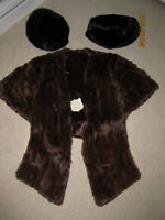 Vintage fur wrap, hat and purse/muff