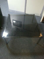 Glass coffee table & matching end table.