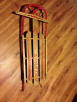 Vintage Spartan Red Metal and Wooden Steerable Sled