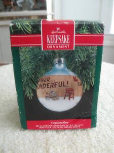 "1990 HALLMARK BOXED GLASS ""KEEPSAKE ORNAMENT""...GRANDMOTHER..."