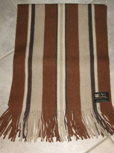 A Flashy Striped Fringed ALL-WOOL FASHION SCARF [in Brown Tones]