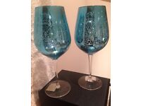 Pair of large ornate wine glasses - New