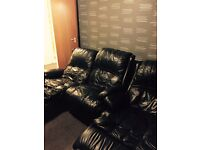 Convertible Leather sofa 1 x 2 seater and armchair