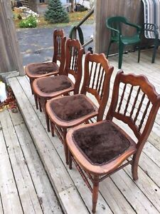 Antique maple chairs.