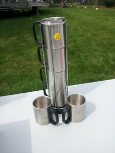 Six stainless Steel mugs 4 mug holder