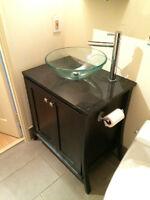 Modern Bathroom Vanity Set w/ Vessel and Faucet