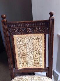 Set of six matching antique dark wood chairs