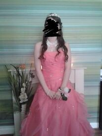 Coral Pink Prom Dress Size 8
