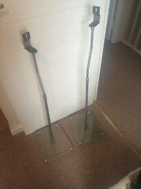 Glass base surround sounds stands x2