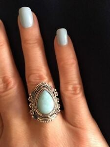 Brand New Balinese Style Larimar Sterling Silver Rings