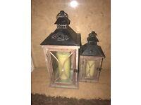 Wood and metal rustic lanterns x2
