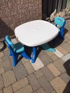 Step 2 Kids Patio Table with 2 Chairs & Umbrella