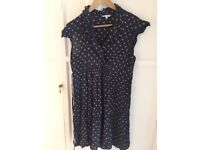 Mamas &a papas navy and beige dots dress with navy underdress size 16
