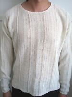 Winter White Round Neck Cable Sweater - Size M