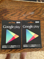 Two Google play gift cards