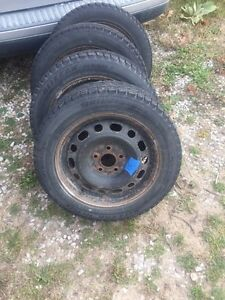 4- P205/55R16 snow tires on rims Sarnia Sarnia Area image 2