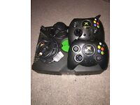 Original X box with all wires and 2 controllers + 12 games
