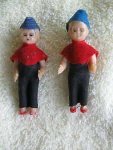 TWO ADORABLE OLD VINTAGE TINY TWIN DOLLS