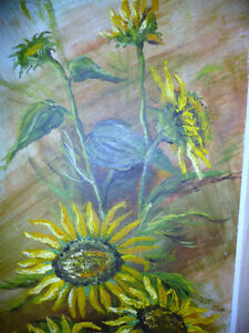 "Garden Study by O. J. Coghlin ""Sunflowers"" Original Oil Painting Stratford Kitchener Area image 2"