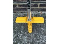 Childs pogo stick which easily folds down for convenient storage, very sturdy.
